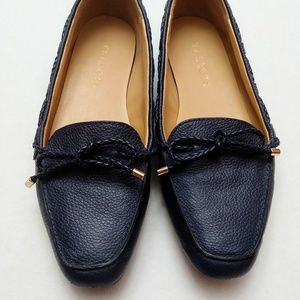 Navy leather flats
